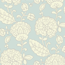 Blue-Teal Chunky Floral Vibe Wallpaper - Bold scale and stylized, these fantasy flowers are eight inches in size and delightful in design. This beguiling wallcovering is sure to brighten a room and prompt a smile. Five inspiring palettes include butter yellow, pale grey, and white or sea foam green, white, and lime. Ideal correlates are Scallop and Mesh Texture.