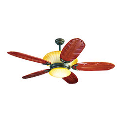 Yosemite Home Decor - 56 Inch Ceiling Fan in Rubbed Bronze Frame with Hand Carved Walnut Blades - Features: