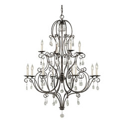 Murray Feiss - Murray Feiss Chateau Traditional Chandelier X-ZBM4+8/8391F - In an expressive style, the Murray Feiss Chateau Traditional chandelier features graceful arms with sensual curls. The mocha bronze finish makes the stylish framing stunning and captivating. The colorful crystal droplets add a touch of sparkle to the design. The attractive chandelier creates an elegant ambiance to the room in a glamorous setting.