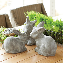 Ballard Designs - Spring Bunny - Rustic bunnies make the perfect touch for a spring tablescape or mantel vignette. Simple greenery will make them look right at home.