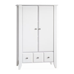 Foundations - Shoal Creek Ready-to-Assemble Matte White Armoire - Organize your clothes and accessories with this matte white armoire by Shoal Creek. It comes ready-to-assemble and includes one large drawer at the bottom and behind the two large doors are two shelves that can be adjusted to fit your needs.