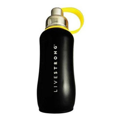Thinksport Livestrong Stainless Steel Sport Bottle - Black - 25 Oz - Built to fit your active lifestyle, thinksport Stainless Steel Insulated Sports Bottles provide an alternative to bottles containing Bisphenol-A (BPA). thinksport Stainless Steel Insulated Sports Bottles are built tough and super insulated to keep the contents cold or hot for hours. This insulated bottle has a double-walled and vacuum-sealed stainless steel construction. When you fill your insulated bottle you won't feel the temperature of the contents; now you won't ever have to grab a blazing hot bottle or a freezing cold one either. You can fill our bottle with ice, your favorite drink and enjoy a cold drink without the bottle sweating all over your gym bag, backpack, or desk. thinksport bottles elegant design features a wide mouth opening (for ease of filling and cleaning) and a smaller polypropylene spout (for convenient drinking). thinksport bottles also feature a removable interior mesh filter that keeps ice from blocking the drinking spout and allows users to conveniently brew loose leaf tea on the go or make campfire coffee. The thinksport insulated bottle is a high-quality insulated sport bottle for about the same price as the other guys  basic single-walled bottles. thinksport bottles are made of 18/8 medical-grade 304 stainless steel and do not have any type of potential harmful liner. thinksport products address the growing concern of toxic chemicals leaching from consumer products. All thinksport products are free of bisphenol-A (BPA), lead, PVC, phthalates, melamine, nitrosamines, and biologically toxic chemicals. How do you care for my thinksport bottle? thinksport recommends hand washing your bottles, however bottles are dishwasher safe, be sure to remove the cap and strap first. thinksport Stainless Steel Insulated Sports Bottles are great for the beach, tailgating, bicycling, camping, gym, and for keeping your drinks hot or cold at the office. Size:25 oz. Great for keeping one wa