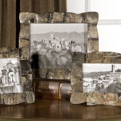 Raw Horn, Photo Frames, S/3 - This set of frames is made of beautiful raw horn in varying shades of brown and black. Holds photos size: 4×6, 5×7 & 8×10