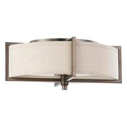 Nuvo Lighting - Nuvo Lighting 60-4048 Portia ES 2-Light Oval Flush with Khaki Fabric Shade - Nuvo Lighting 60-4048 Portia ES 2-Light Oval Flush with Khaki Fabric Shade (2) 13w GU24 Lamps Included