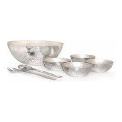 Silver Nest - Hammered Salad Serving Set - Hammered Alumiunum and Pearl Salad Serving Set