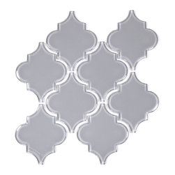 Glass Tile Mosaic Arabesque Mesh Mounted, Gray, Box - Sold by the box 10 sheets = 6.40 sq/ft per box