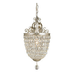 "Currey and Company - Bettina Pendant - This is a lot of crystal in a very small package. This classically styled pendant is the perfect piece to bring a touch of elegance to a very small space. The dressy crystal form is embellished with detailed wrought iron work finished in a complementary ""Silver Leaf"