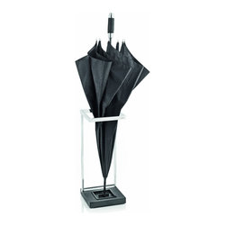 Blomus - Menoto Umbrella Stand - Menoto Umbrella Stand with a matte stainless steel finish, a polystone base and a plastic tray to keep the water off your floor.
