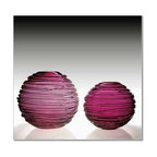 "William Yeoward - William Yeoward Sophie Vase 9"" Wine Red - Sophie is a stunning spherical vase in vibrant colour with trailing glass around the bowl."