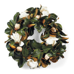 Frontgate - White Magnolia Wreath - Faux flowers, artistically arranged. 100% polyester flowers. Suitable for indoor and outdoor use. Durable and maintenance free. Arrives ready to hang. Lifelike magnolia blossoms burst forth from the deep green leaves on this gorgeous wreath. The wreath features magnolias in every stage of growth, from the bulb to the full flower head.  .  .  .  .  . Imported.