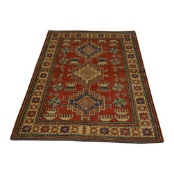 Red Kazak Hand Knotted Geometric Design 100% Wool 3'x5' Oriental Rug SH16712 - This collections consists of well known classical southwestern designs like Kazaks, Serapis, Herizs, Mamluks, Kilims, and Bokaras. These tribal motifs are very popular down in the South and especially out west.