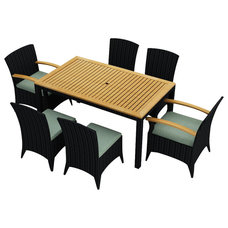 Modern Outdoor Dining Sets Arbor 7 Piece Modern Outdoor Dining Set, Spa Cushions