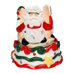 "ATD - 5.25"" Santa with Friends on Cake Design Musical T-light Candle Holder - This gorgeous 5.25"" Santa with Friends on Cake Design Musical T-light Candle Holder has the finest details and highest quality you will find anywhere! 5.25"" Santa with Friends on Cake Design Musical T-light Candle Holder is truly remarkable."
