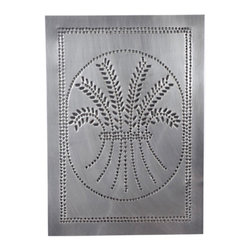 "USA Handcrafted - Four Handcrafted Punched Tin Cabinet Panel Primitive Wheat Design, Country Tin - Our punched panels are handcrafted in Pennsylvania, available in copper or a variety of tin finishes, they are perfect cabinet inserts, and suitable for all of your primitive country decorating needs, Sold in Packs of Four, Each Measures 10"" wide X 14"" high"