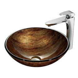 """Vigo Industries - VIGO Amber Sunset Glass Vessel and Faucet Set in Chrome - The VG07027 glass vessel bowl features a variety of brown, red, and amber colors throughout, providing a distinguished elegance. Handmade with possible unique and slight color variations, so no two sinks are identicalVigo Industries is one of the leading full-service distributors of quality kitchen and bath fixtures in the world. From design and manufacturing to distribution and customer service, Vigo Industries controls every aspect of their product, ensuring high standards for design and execution.FeaturesHandmade with possible unique and slight color variations, so no two sinks are identicalSolid tempered glass constructionScratch-resistant glassNon-porous surface prevents discoloration and fading Stain-resistant, easy-to-clean surfacePolished glass interior with textured exterior Above-counter installation1 3/4"""" standard drain openingThe VG03019CH Erasma vessel faucet in chrome finish features a small single lever and L-shaped spout with mineral resistant nozzle.Solid brass construction ensures durability and longer lifeVIGO finishes resist corrosion and tarnishing, exceeding industry durability standardsHigh-quality ceramic disc cartridge ensures maintenance-free use Easy single-hole faucet installationWater pressure tested for industry standard2.2 GPM flow rateAll mounting hardware and hot/cold waterlines includedStandard US plumbing 3/8"""" connectionsIncludes solid brass pop-up drain and solid brass mounting ring, both in matching finishSink measurements: Diameter: 16 1/2""""Height: 6"""" Glass thickness: 1/2""""Faucet measurements:Faucet height: 11 5/8""""Spout height: 9 1/4""""Spout reach: 6 1/2""""Standard 1 3/8"""" diameter opening is required for this faucetThis VIGO glass vessel bowl is cUPC certified by IAPMOADA compliantLimited Lifetime Warranty from Vigo View Spec Sheet"""