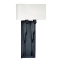 "Hudson Valley - Traditional Hudson Valley Selkirk Old Bronze 10"" Wide Wall Sconce - Add an elegant touch to your contemporary or transitional home decor with this dignified 2-light wall sconce. A vertical rectangular backplate in rich old bronze finish adds height to a room topped with a wide off-white faux silk half-box shade. This handsome home accent is from Hudson Valley Lighting. Old bronze finish. Off-white faux silk shade. Takes two 60 watt candelabra bulbs (not included). 10"" wide 20"" high. Shade is 10"" wide 5 1/2"" high and 5"" deep. 5 3/4"" extension. Backplate is 14"" high 5 1/4"" wide.  Old bronze finish.   Off-white faux silk shade.   Takes two 60 watt candelabra bulbs (not included).   10"" wide 20"" high.   Shade is 10"" wide 5 1/2"" high and 5"" deep.   Backplate is 14"" high 5 1/4"" wide."