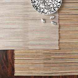 Metallic Thread Placemats - Natural grass placemats are glammed up for the season with metallic threads.