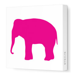 "Avalisa - Silhouette - Elephant Stretched Wall Art, 28"" x 28"", Fuchsia - Don't forget the walls when you're looking for ways to add color and whimsy. This elephant silhouette is printed on fabric in a zoo's worth of colors and sizes. Pick one or a pack of pachyderms for a circus-like parade around your child's room."