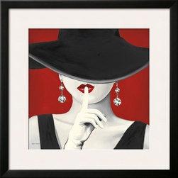 Artcom - Haute Chapeau Rouge I by Marco Fabiano - Haute Chapeau Rouge I by Marco Fabiano is a Framed Art Print set with a SOHO Black wood frame and a Polar White mat.