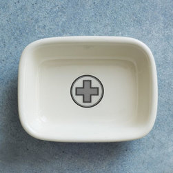 Izola Soap Dish, Apothecary - The crisp and minimal design of this soap dish makes it suited to most any bathroom space. But it can handle more than just soap: Use it on your side table to hold jewelry or on your desk to store paper clips or pushpins.