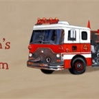 Fire Truck Room Sign and Fire Truck Door Sign Personalized - 10x20 Personalized Fire Truck Canvas Reproduction of original oil artwork.  Each sign includes a space for a child's name. Fully assembled and ready to hang with wire hanger attached. Hang on the wall, door, or prop up on a shelf.