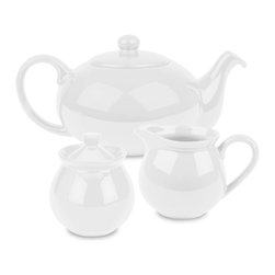 Waechtersbach - Fun Factory Tea Set, White - Brighten up your kitchen table with this Fun Factory White Tea Set. With its vibrant color and contemporary shape, this set will bring fun and joy into your home. Full tea service includes sugar bowl with lid, creamer, and tea pot with lid.