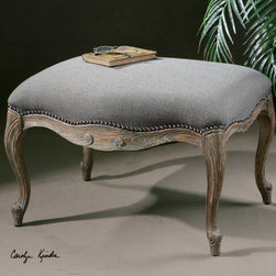 Stella Ottoman - Solid, hand carved pine and hardwood with an ash gray wash and woven polyester covering in steel gray and tan with nail accents.