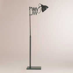 World Market - Accordian Task Floor Lamp - With a vintage-inspired scissor arm and a gunmetal finish, our exclusive Accordian Task Floor Lamp is a dramatic realization of chic industrial style. Its adjustable arm extends and retracts as needed, making this complete lamp perfect for illuminating a workspace.