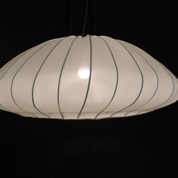 Axo Light - Muse Suspension - Muse suspension features a silk elastic fabric shade stretched over a metal frame. Shade is removable and washable. One 150 watt, 120 volt, A19 medium base incandescent lamp not included. General light distribution. ETL listed. 31.5 inch diameter x 12.25 inch height with an overall height of 59 inches.