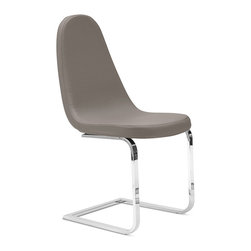 DomItalia Furniture - Grey Blade-S Side Chair / Flat Tube Frame (Set of 2) - The set is a fine completion of any modern dining setting, featuring chromed steel flat tube frame available in 3 finishes, and taupe or grey upholstered seat and back.