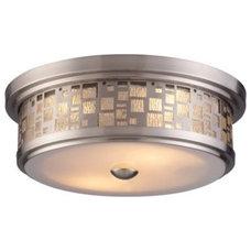 Bathroom Vanity Lighting Tiffany Satin Nickel Flushmount by Landmark Lighting