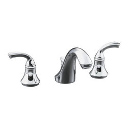 """KOHLER - KOHLER K-10272-4-CP Forte Widespread Lavatory Faucet with Sculpted Lever Handles - KOHLER K-10272-4-CP Forte Widespread Lavatory Faucet with Sculpted Lever Handles in Polished ChromeThe Forte faucet collection combines fluid design lines with functionality and coordinates well with Leighton(TM) fixtures.  Solid brass construction and KOHLER Vibrant finishes provide superior durability and reliability.  The two sculpted lever handles of this widespread lavatory faucet come pre-assembled on their valves so it is easy to install and clean.KOHLER K-10272-4-CP Forte Widespread Lavatory Faucet with Sculpted Lever Handles in Polished Chrome, Features:• Two-handle widespread lavatory faucet for 8"""" - 16"""" centers"""