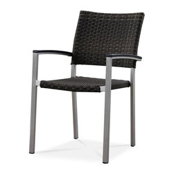 Source Outdoor - Fiji Arm Chair - Lightweight, very durable and stackable. Rustproof. Can be used in indoor and outdoor. Warranty: Three year limited residential and one year commercial. Frame made from aluminum. Seat and back made from high density polyethylene synthetic resin wicker and HD polystyrene arm rest. Espresso color. No assembly required. 24 in. W x 21 in. D x 34 in. H (9 lbs.)They are manufactured for commercial use in high traffic areas. This is an excellent choice for your home or your business. Use them for restaurants, weddings or for any gathering. Designed to commercial specifications for resorts, hotels and the discerning homeowner. Patios, restaurants, cafes, weddings or for any gathering. The wicker has been through rigorous laboratory testing including 3000 hours of direct UV exposure.