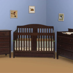 "DaVinci - Richmond 4-in-1 Convertible Crib Set with Toddler Rail - Features: -Espresso finish. -Constructed from New Zealand Radiata pine wood. -Adjustable 4 level mattress support. -No drop side, static all around. -Can be converted to toddler bed to daybed to full size bed. -Guard rail for safety for toddler bed conversion included. -Headboard and footboard for full size bed included. -Purchase optional Bed Rails to convert Richmond crib into a full-size bed. -Two compartment drawer beneath crib. -Meets and exceeds all US safety standards. -Linens and mattress not included. -This is a NON-Drop Side crib. Dimensions: -70.25"" H x 77"" W x 30.38"" D, 66 lbs. About New Zealand Radiata Pine Wood: Radiata Pine, better known as 'New Zealand Pine' is a softwood tree that contains many properties that make it very suitable for furniture and furniture making. It has a density equal to that of hardwoods like poplar, mahogany and oak. Its uniform density ensures a smooth and consistent texture and confers its excellent machining, painting and staining properties; there is almost no variation in color between pieces. DaVinci's pine wood originates from forests maintained by managers that enforce environmental responsibility and the conservation of forest wildlife. ***Please note that these products cannot be shipped to Alaska, Hawaii, or Puerto Rico. We apologize for the inconvenience - feel free to call us regarding alternatives! This Crib is approved for use in the United States."