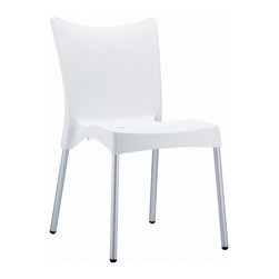 Compamia - Juliette Resin Dining Chair White - Set of 2 - Juliette dining chair. Made from commercial grade resin with rust free aluminum legs. Great for outdoor spaces, patios and decks. Used by restaurants, cafes and hotels. Color white.