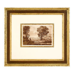 Pastoral Landscape VIII - Halcyon days of quiet simplicity and unspoilt beauty are recalled in the Pastoral Landscape VIII. Washed sepia tones lend the piece an air of yesteryear that is at once dramatic yet restrained, and is double matted in hand-painted custom finishes of gold leaf and a crimson bevel. The wide wood molding frame in gold leaf beautifully accentuates the utopian image that lies at the center.