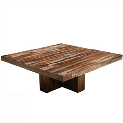 """84"""" Square Pedestal Dallas Solid Wood Large Dining Table For 12 People - We merged contemporary design with traditional woodworking techniques to create our Indian Rosewood square dining table for 12. Our + shaped pedestal adds to the modern styling and creates extra comfort."""