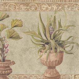 York Wallcoverings - Brown Stone Green Plants Wallpaper Border - Wallpaper borders bring color, character and detail to a room with exciting new look for your walls - easier and quicker then ever.