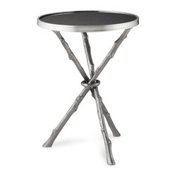 Faux Bois Granite Accent Table - I would love to use this nickel-finished brass table between two gorgeous reading chairs in front of a fireplace.