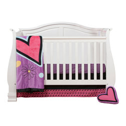 "Sassy Shaylee - Infant Set (3pc no bumper) - Let  ""Sassy Shaylee"" make a bold and beautiful statement of who you are! Enter a room that shouts out in color and style!  Bold black surrounded by a gorgeous pattern of stripes, hearts, flowers and curly swirly designs in hues of pink, purple, orange and a dynamic yellow!  This 3pc set includes:  crib bed skirt, crib sheet, and a coordinating medium quilt. Crib skirt designed in solid black cotton with gorgeous trim in ""Sassy Hearts"" cotton fabric.  Crib sheet available in the collections ""Purple & Black Stripe""  designer print fabric.  Offered in cotton fabric. Quilt is absolutely stunning and made with the softest of minky fabrics.  Front of quilt is this collections gorgeous purple minky with appliqu�s in hearts, flowers and dots.  Back is solid pink minky.  Entire quilt is trimmed in silky satin bold black ruffled trim. SAVE WHEN YOU BUY AS A SET!"