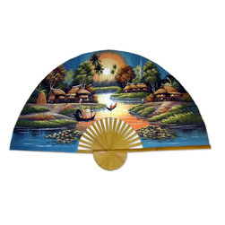 Oriental-Décor - Land of the Enchanted Fan - Decorate your room with this flight of fantasy hand-painted fan. Take it down from the wall and use it to give yourself a little breeze, gripping it by the lovely bamboo handle. This sunset scene is one you'll love showcasing in your home.