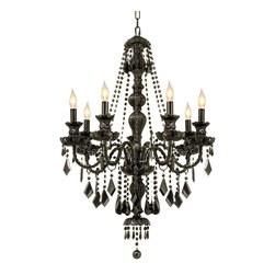 The Gallery - Jet Black Crystal chandelier Lighting - Assembly Required. G46-BLACK/SM/490/7