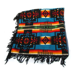Pendleton - Consigned Pendleton Chief Joseph Blanket w/ Black Reversible Pattern & Fringe - Black, Turquoise, Orange and Red Large Pendleton Chief's Blanket with black fringe with reversible Chief Joseph pattern.