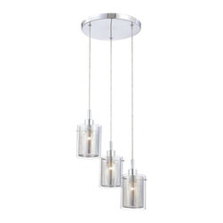 Minka George Kovacs - Minka George Kovacs Grid II 3-Light Chrome Clear with Chrome Mesh Glass Pendant - This Three Light Multi Light Pendant is part of the Grid Ii Collection and has a Chrome finish and Clear with Chrome Mesh glass.