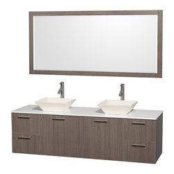 Wyndham Collection - Double Sink Vanity with White Man-Made Stone Top - Includes drain assemblies, mirror and P-traps for easy assembly. Faucets not included. Four functional drawers. Two functional doors. Single-hole faucet mount. Fully-extending soft-close drawer slides. Concealed soft-close door hinges. Deep doweled drawers. Unique and striking contemporary design. Highly water-resistant low V.O.C. sealed finish. Eight-stage preparation. Lifetime warping prevention. Bone porcelain sinks. Metal exterior hardware with brushed chrome finish. Made from veneers and high quality grade E1 MDF. Gray oak finish. Vanity: 72 in. W x 22.25 in. D x 21.25 in. H. Sink: 5.5 in. H. Mirror: 70 in. W x 0.75 in. D x 33 in. H. Care Instruction. Vanity Assembly Instruction. Mirror Assembly InstructionModern clean lines and a truly elegant design aesthetic meet affordability in the (No Suggestions) collection amare vanity. Available with green glass or pure white man-made stone counters, and featuring soft close door hinges and drawer glides, you'll never hear a noisy door again! Meticulously finished with brushed Chrome hardware, the attention to detail on this elegant contemporary vanity is unrivalled.