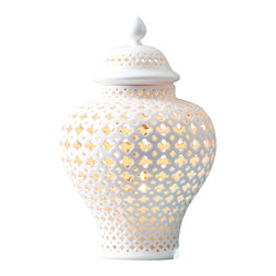 Carthage Pierced Covered Lantern - Time-intensive carving of the most elite fine porcelain yielded the soothing Moroccan-inspired pierce work in the walls of the Carthage Covered Lantern. This meticulously-crafted accent light is artfully made in pure white, so it's lacy and lovely during the day, but dramatic and worldly by night. Curved walls and a high-knobbed lid lend an Eastern flair to this transitional design.