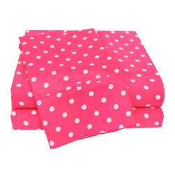 600 Thread Count Full Sheet Set Cotton Rich Polka Dot - Pink - With these Cotton Rich 600 Thread Count Polka-Dot Sheets you can liven up the look of your bedroom. Featuring playful polka dot design on both sides, these sheets create a fun and stylish look that will keep your room looking awesome all year-round. Set includes One Flat Sheet 81x96, One Fitted Sheet 54x75, and Two Pillowcases 20x30 each.