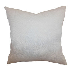 """The Pillow Collection - Xafina Quilted Pillow Creme 20"""" x 20"""" - Immaculate and simple, this accent pillow is an ideal decor piece to add in your living room or bedroom. This decor pillow features a quilted and floral pattern. The creme colored accent pillow is easy to pair with different patterns and colors. This square pillow is made from 100% soft cotton fabric. This 20"""" pillow complements many decor styles, including contemporary, modern, coastal and more. Hidden zipper closure for easy cover removal.  Knife edge finish on all four sides.  Reversible pillow with the same fabric on the back side.  Spot cleaning suggested."""
