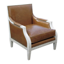 "Oly Studio - Oly Studio Tobias Lounge Chair - The majestic form of the Tobias chair brings an easy sophistication to the room. This Oly Studio creation is a strong and stately accent piece with a boxy carved frame finished with nailhead trim. 31""W x 33""D x 36.5""H; Hardwood frame with upholstery; Choose from several finish and upholstery options; Shown in antiqued white finish and bronze leather upholstery; Trim options: welting standard on herringbone and wool; nailhead standard on leather and mohair; spaced nailhead standard on raffia; Handcrafted with natural and expected variations; COM yardage: 5; Fabric samples are available on loan, email your request to swatches@zincdoor.com."