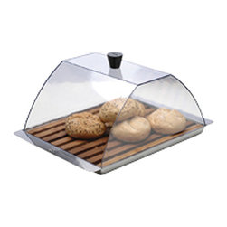 BergHOFF - Rectangular Multi-purpose Food Storage/ Serving Tray - Beautiful multipurpose rectangular storage trays are designed by Ilse Raymaekers in BelgiumServing trays are stainless steel and a bamboo insert trayStorage tray is perfect for keeping cheeses,breads or cookies fresh